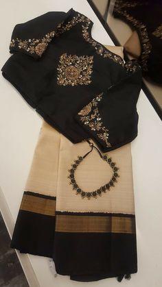 Discover thousands of images about Trendy Saree Blouse Designs - ArtsyCraftsyDad Saree Blouse Neck Designs, Fancy Blouse Designs, Saree Blouse Patterns, Bridal Blouse Designs, Kerala Saree Blouse Designs, Sari Bluse, Indische Sarees, Trendy Sarees, Indian Designer Wear