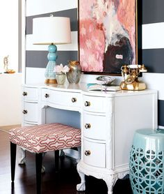Style at Home - black and white striped walls, coral abstract art, Style At Home, Room Inspiration, Interior Inspiration, Striped Walls, Interior Decorating, Interior Design, My New Room, Console Table, Table Bench