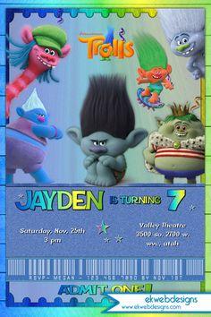 Trolls Movie Birthday Invitation Boys - Dreamworks Trolls Movie Ticket style party Invitation
