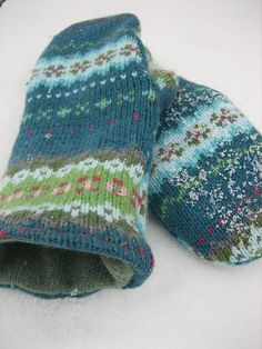Making mittens from old sweaters (not felted in the pattern, but I'm sure felted would work too!)