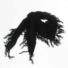 http://www.artfire.com/ext/shop/studio/bohemiantouch/1/1/10311//  Black with a Beautiful texture with fine tassel edge Celebrity Look Soft Touch Fashion Shawl Scarf, scarf is a great addition to your collection of fashion accessories. Perfect for all year round.