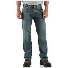 Featuring lightweight denim with an attractive wash, this relaxed straight jean is versatile and durable enough to wear everywhere. The jean sits slightly below the waist and features a relaxed fitting seat and thighs. Pair up the 5-pocket jean with your favorite street shoes or athletic shoes. The straight leg opening also fits over boots. Please refer to our Carhartt sizing chart to ensure you order the correct fit.
