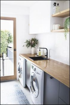 Easy tricks to make a Scandinavian style laundry room which will give a perfect refreshment in simple and sleek designs Image Laundry Room Design, Home Room Design, Cool House Designs, Modern House Design, Home Office Expenses, Timber Benchtop, Modern Laundry Rooms, House Rooms, Modern Minimalist