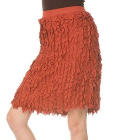 Take a look at this Rust Ruffle Skirt - Women by Aster on #zulily today!