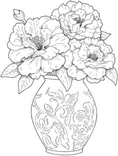 Printable Flower Coloring Pages - Free Coloring Sheets Flower Coloring Pages, Coloring Book Pages, Printable Coloring Pages, Coloring Sheets, Colouring Pages For Adults, Mandala Coloring, Digi Stamps, Colorful Pictures, Pretty Pictures