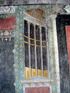 Architectural perspective - painting style, julio-claudian age, AD - The house of Marcus Lucretius Fronto at Pompeii, recently opened - Plan: letter h - Architecture Pompeii Italy, Pompeii And Herculaneum, Roman History, Art History, Ancient Rome, Ancient Art, Rome Painting, Art Romain, Heroic Age