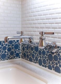 Laundry room blue dot tile with subway tile. Love it!!!