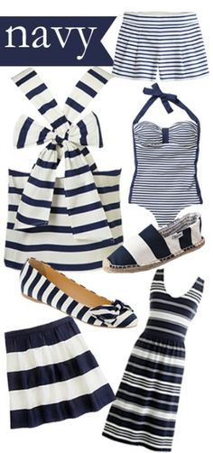 i am such a sucker for navy and white stripes, and a good thing too cuz they look fabulous on almost anyone Nautical Outfits, Nautical Fashion, Nautical Style, Preppy Style, Style Me, Summer Outfits, Cute Outfits, Work Outfits, Navy Stripes