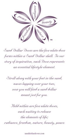 Sand Dollar Doves Poem. Stroll along with your feet in the sand, waves lapping over your toes, soon you will find a sand dollar meant just for you.  Held within are five white doves representing  the basic elements of life; radiance, freedom, nature, beauty, peace.  #sanddollar