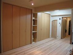 中古マンションリノベ事例 相生杉貼り床板、壁、天井は珪藻土左官仕上げ