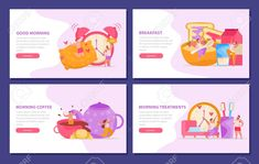 Morning people flat set of horizontal backgrounds with doodle style images editable text and button vector illustration Illustration , Florist Logo, Morning People, Flat Illustration, Illustrations, Background S, Digital Image, Images, Doodles, Explore