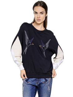 STELLA MCCARTNEY - SWALLOWS EMBROIDERED COTTON SWEATSHIRT - LUISAVIAROMA - LUXURY SHOPPING WORLDWIDE SHIPPING - FLORENCE