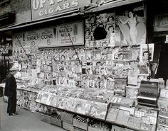 News Stand at 35th Street and Third Avenue, New York, 1935 - Photo by Berenice Abbott
