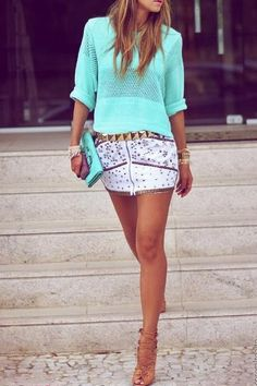 Mint green knit, printed mini skirt, gold belt and tan lace up heels