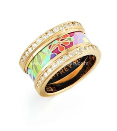 Frey Wille Ring from the 18k collection - fun, artsy, enameled  jewellery