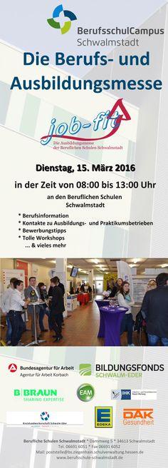 Seid Ihr auf der Suche nach einem Ausbildungsplatz? Oder sucht Ihr noch nach dem passenden Beruf? Dann besucht am kommenden Dienstag die job-fit Berufs- und Ausbildungsmesse in Schwalmstadt. Wir sind selbstverständlich auch vor Ort.  Mehr Infos unter http://joomla.berufsschule-schwalmstadt.de/