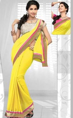 YELLOW GEORGETTE LATEST SAREE - RIS 1708B