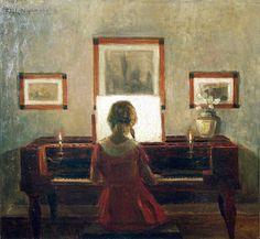 Girl at piano - Poul Friis Nybo (1869-1929)SPS