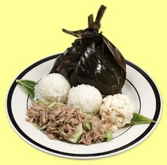 """""""plate lunches"""" from hawaii... lau lau, kalua pig, rice and mac salad... my mouth is watering"""