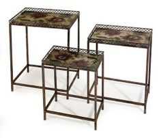 3 Nesting Tables by Gordon Companies, Inc. $286.50. Picture may wrongfully represent. Please read title and description thoroughly.. This product may be prohibited inbound shipment to your destination.. Shipping Weight: 32.00 lbs. Brand Name: Gordon Companies, Inc Mfg#: 30688882. Please refer to SKU# ATR25768504 when you inquire.. 3 nesting tables/rectangular/floral/small: 18.5''H x 14.25''L x 8.25''W/medium: 21.5''H x 16.25''L x 10.75''W/large: 24''H x 18.25''L x 11.75''W/made ...