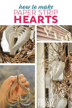 Looking for an inexpesive and simple Valentine's Day decoration for your house? Learn how to make paper hearts from an old book or with construction paper! Recycled Paper Crafts, Old Book Crafts, Book Page Crafts, Recycled Books, Paper Crafts Origami, Folded Book Art, Paper Book, Book Folding, Old Book Pages