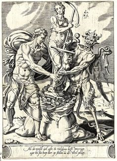 """Maarten van Heemskerck (1498-1574), 'Once Rich Man Puts his Hope in Wealth', 1550  ″A devil helps a man put the image of Hope (Spes) in a large bag filled with coins."""""""