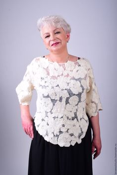 Купить Блуза   Облако - стильная блузка, блузка женская блузка, кружевная кофточка, кружевная блуза