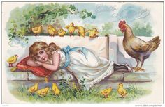 TUCK #111, EASTER; Greetings, Girl lieing on bench, Hen and chicks watching, Silver detail, 00-10s