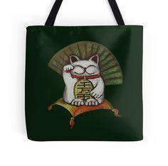 """White Maneki neko with Japanese coin "" Tote Bags by farawayart | Redbubble"
