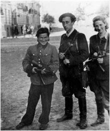Pictured are three prominent Jewish partisans Vita Kempner, Abba Kovner and Gizi Barankes in Vilna Lithuania. All three were very close during their time as Lithuanian partisans. Kempner and Kovner would later marry.