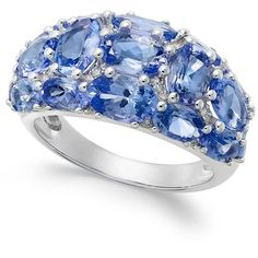 Tanzanite (6 ct. t.w.) and Diamond (1/8 ct. t.w.) Dome Ring in 14k... ($2,300) ❤ liked on Polyvore featuring jewelry, rings, blue, white gold rings, white gold diamond rings, 14k diamond ring, 14 karat white gold ring and diamond rings
