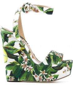 Dolce and Gabbana: Floral printed wedge sandal....IF ONLY