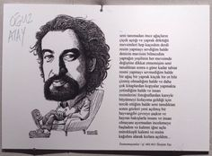 KÜLTÜR-SANAT İNSANLARI PORTRE SERGİSİ - Oğuz Atay sözleri - Bülent Karaköse - karikatür portre