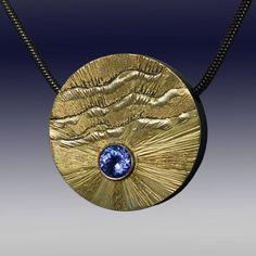 "Wolfgang Vaatz - Sugarman Peterson Gallery Gold and Silver 1.25"" x 1.25"" $1,150 Tanzanite Pendant"