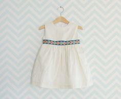 Baby Girl Cream Dress Floral luxury belt dress for by Melimebaby, $52.00