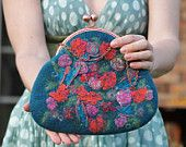 Retro felted clutch bag with red flowers