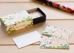 Classiky 20 Beautiful Letterpress Mini Cards in a super cute Matchbox---Little Garden for journaling, art mail, gift message Wedding Stationary, Wedding Invitations, Custom Checks, Little Flowers, In The Tree, Message Card, Letterpress, Thank You Cards, Party Favors