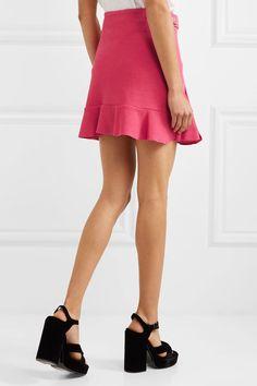 Boutique Moschino - Buckled Crepe Mini Skirt - Fuchsia