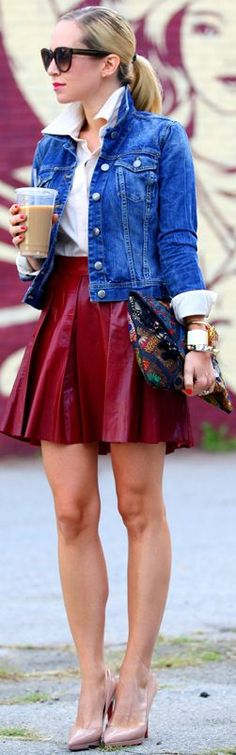 red wine leather skirt, denim, white shirt, ponytail, pumps, unique clutch, sunnies and that coffee.