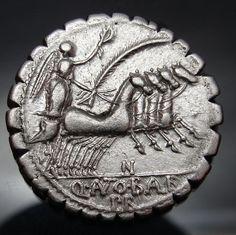 An OUTSTANDING Antonius Balbus serratus Denarius. JUPITER AND Victoria AU*
