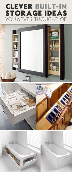 Clever BuiltIn Storage Ideas You Never Thought Of Tiny House Plans Tiny House Plans Small Bathroom Ideas Small Living Room Ideas DIY Room Decor Space Saving Furniture Un. Tiny House Storage, Built In Storage, Storage Mirror, Small Storage, Craft Storage, Clever Storage Ideas, Storage Solutions, Home Storage Ideas, Built In Bathroom Storage