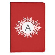 Ornate White Snowflake Monogram on Festive Red Kindle Touch Cover | Visit the Zazzle Site for More: http://www.zazzle.com/?rf=238228028496470081 [Referral Link]