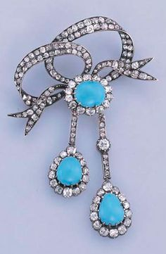 AN ANTIQUE TURQUOISE AND DIAMOND BROOCH  Designed as an old-cut diamond ribbon bow, to the turquoise and diamond cluster suspending two similarly designed pendants, mounted in silver and gold, circa 1880, 4.6 cm. wide