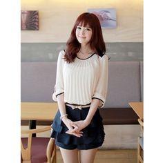 White Round Neck Korean Fashion Women Chiffon Short Sleeve Blouse... via Polyvore