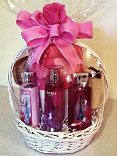 """Scentsational """"Paris"""" Bath & Body works spa themed gift basket complete with a comfy throw. A Dame's Gifts can customize for any theme or occasion! www.adamesgifts.com"""
