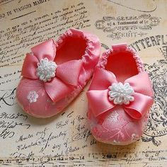 GENEVIEVE-pink Brocade Baby Shoes   Luulla