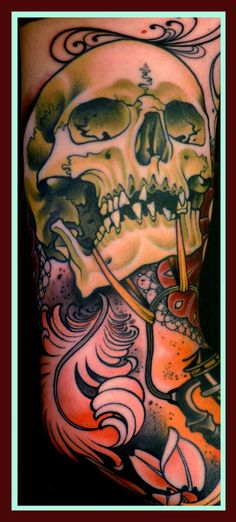 skull tattoo design. love this. would love to see the rest of the sleeve.