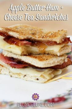 Apple butter elevates these simple ham and cheese tea sandwiches into a tasty, gourmet choice for your next tea party. #teasandwiches #teaparty #sandwich #plumdeluxe