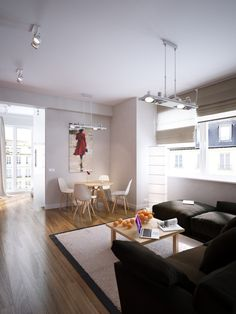 Modern Red Apartment For A Young Couple / Black white cream lounge diner design