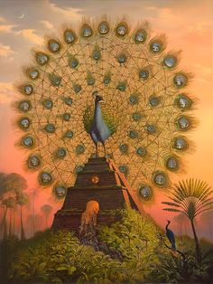 Vladimir Kush - Peacock Ferris Wheel. In EVERY single feather eye, theres a scene